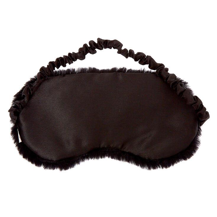 Plush Sequin Eyelash Sleeping Mask - Black,