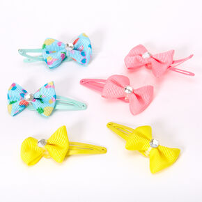 Claire's Club Neon Bow Snap Hair Clips - 6 Pack,