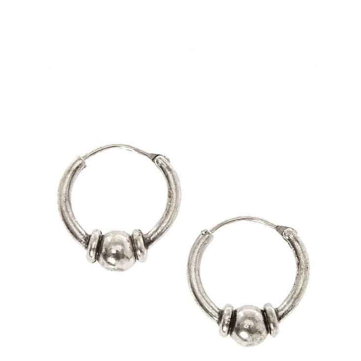 42937c8b2 Silver Tone Bead Mini Hoop Earrings | Claire's