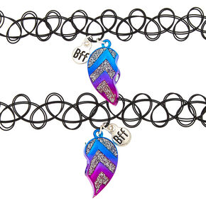 Best Friends Chevron Heart Tattoo Choker Necklaces - 2 Pack,