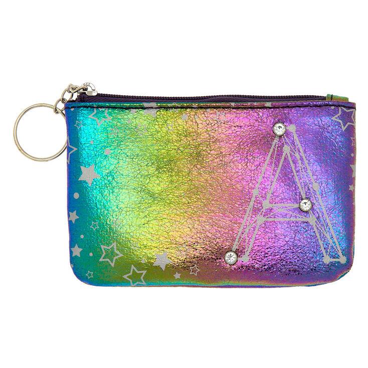 Rainbow Star Studded Initial Coin Purse - A,