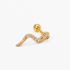 Gold 16G Snake Cartilage Stud Earring,