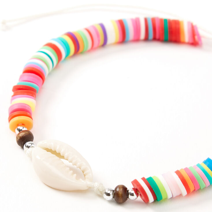 Rainbow Disc Cowrie Shell Adjustable Bracelet,