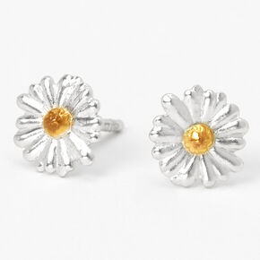 Sterling Silver & Gold Daisy Stud Earrings,