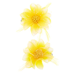 Glitter Lily Flower Hair Clips - Yellow, 2 Pack,