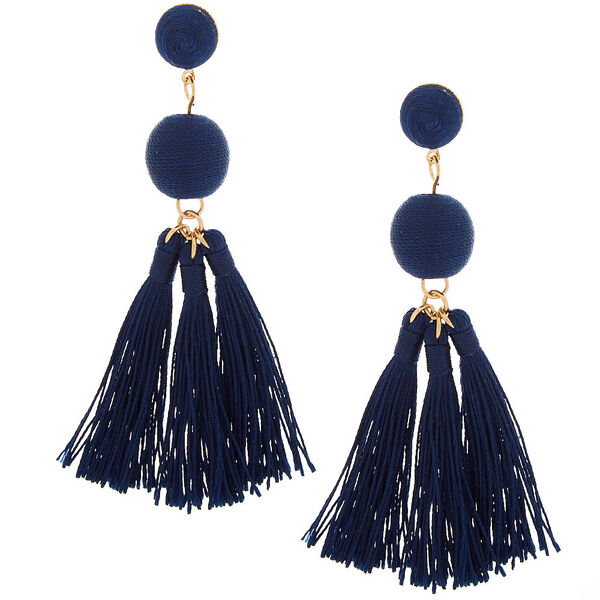 "Claire's - 3"" wrapped tassel drop earrings - 1"