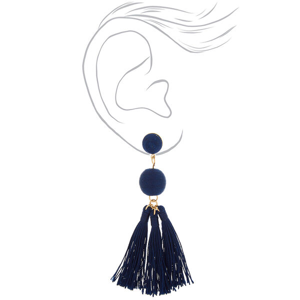 "Claire's - 3"" wrapped tassel drop earrings - 2"