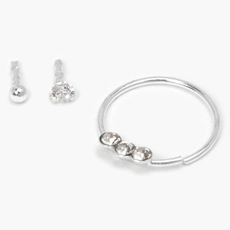 Boucles d'oreilles pour piercing de cartilage aux designs variés boule et strass couleur argentée - Lot de 3,
