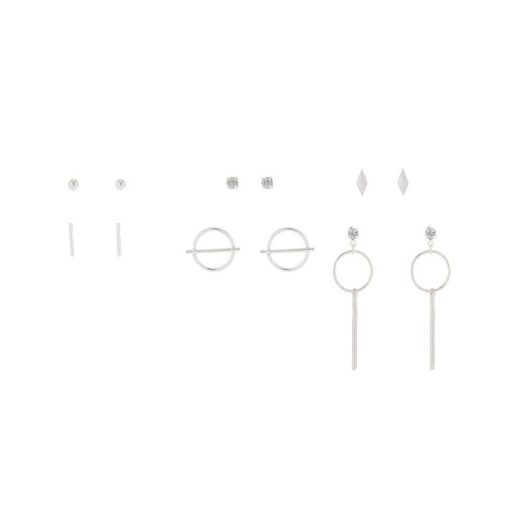 Silver Delicate Geometric Stud Earrings - 6 Pack,