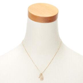 Collier d'humeur à pendentif serrure et clé couleur doré avec initiale - C,
