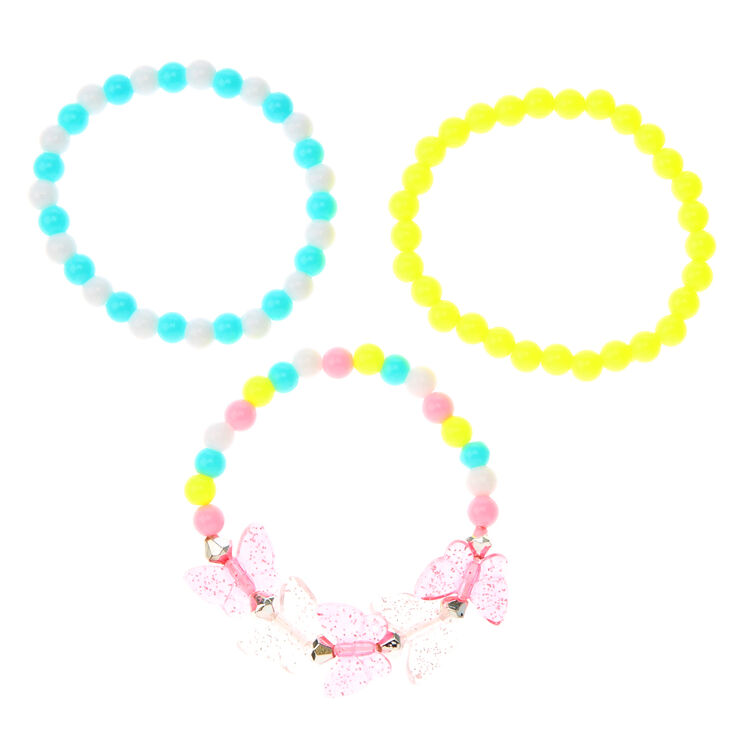 Lot de 3bracelets élastiques perlés papillon du Claire'sClub,