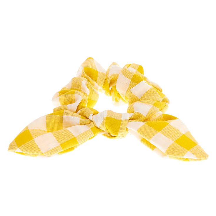 Small Gingham Knotted Bow Hair Scrunchie - Yellow,