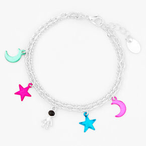 Silver Outer Space Icons Anodized Charm Bracelet,