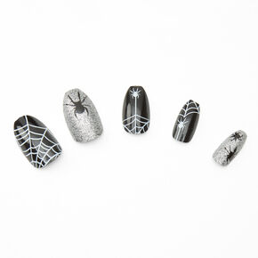 Spider Webs Coffin Faux Nail Set - Black, 24 Pack,
