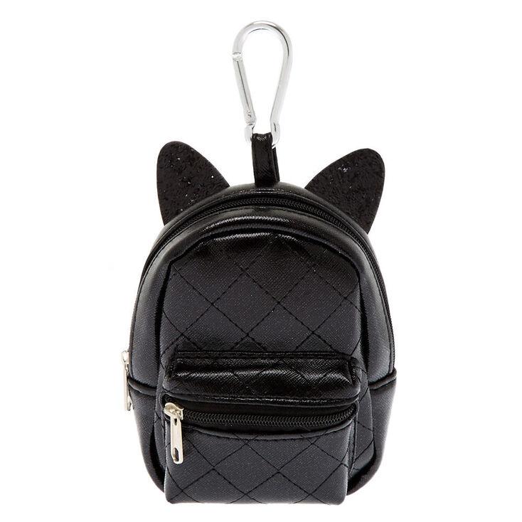 Cat Ears Mini Backpack Keychain - Black,