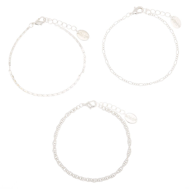 Silver Chain Bracelets - 3 Pack,