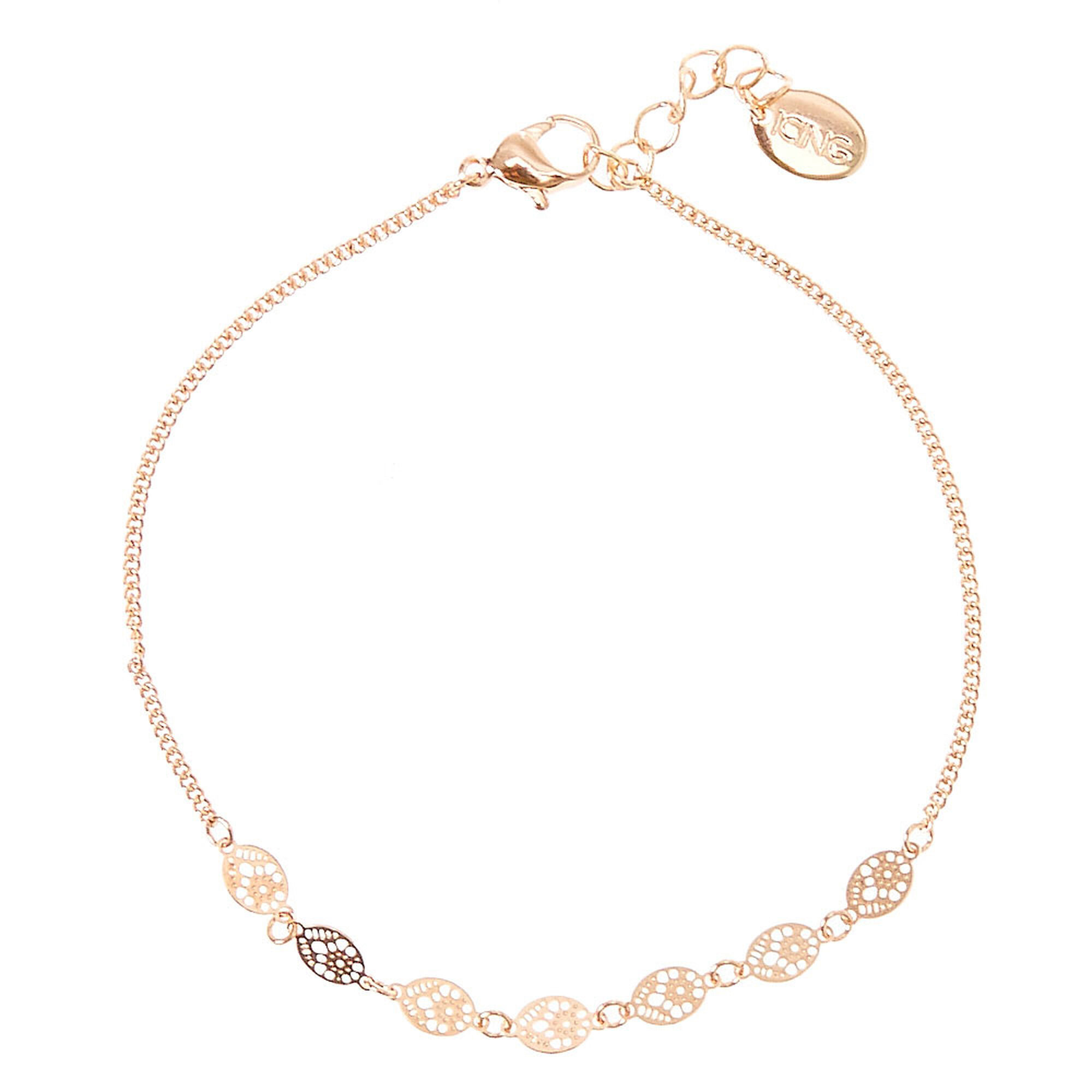 rose bracelet anklet cross crystal gold olizz ankle