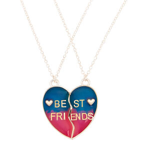 Best Friends Mood Ombre Heart Pendant Necklaces - 2 Pack,