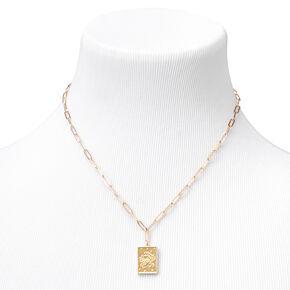 Gold Rectangle Zodiac Symbol Pendant Necklace - Cancer,