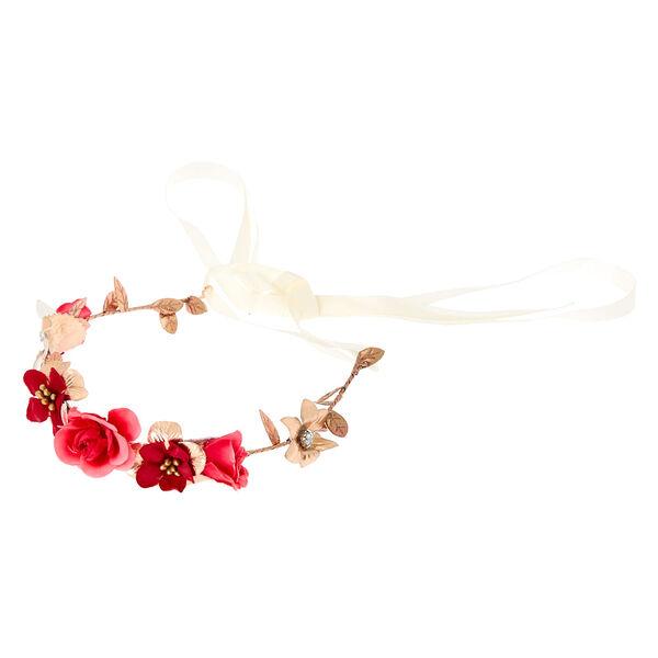 Claire's - rose flower crown tie headwrap - 1