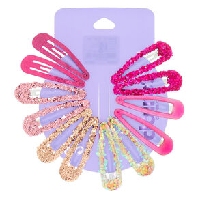 Pretty Pink Glitter Snap Hair Clips - 12 Pack,