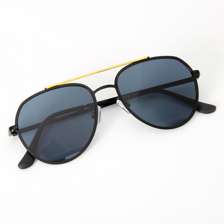 Neon Browline Aviator Sunglasses - Black,