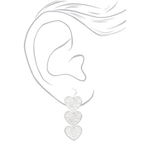 "Silver 2"" Filigree Heart Drop Earrings,"