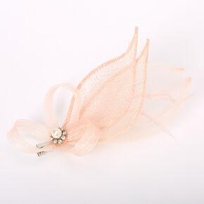 Embellished Teardrop Fascinator Hair Clip - Nude,