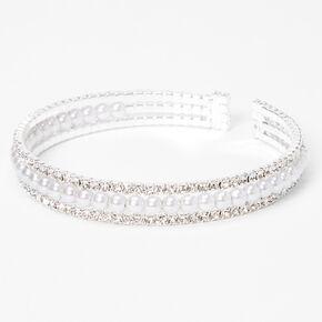 Silver Rhinestone & Pearl Triple Row Cuff Bracelet,