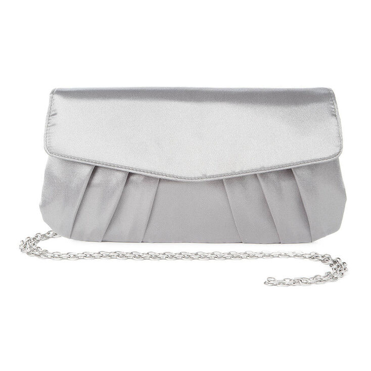 93c10f063a6 Silver Satin Envelope Clutch Purse | Claire's US