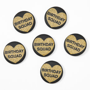 Birthday Squad Glitter Heart Buttons - Black, 6 Pack,