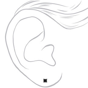 Clous d'oreilles carrés 3mm en zircon cubique d'imitation couleur argentée - Noir,