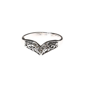 Silver Patterned Wishbone Ring,
