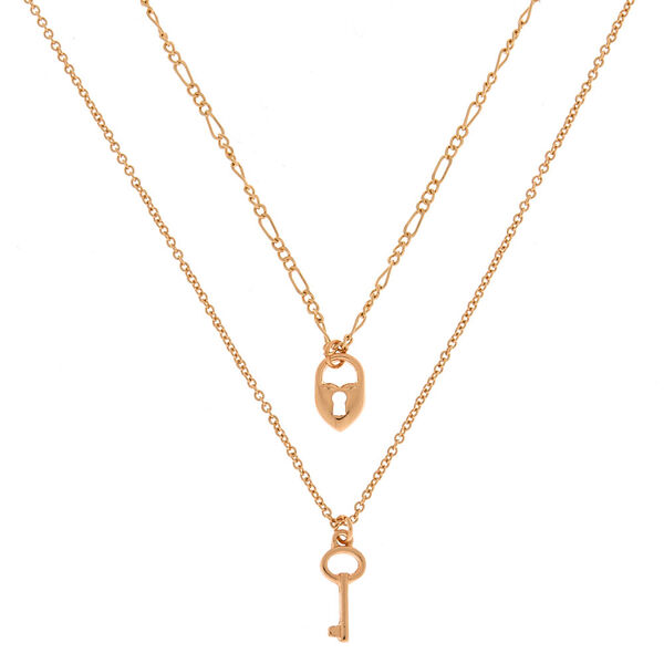 Claire's - heart lock and key multi strand necklace - 1