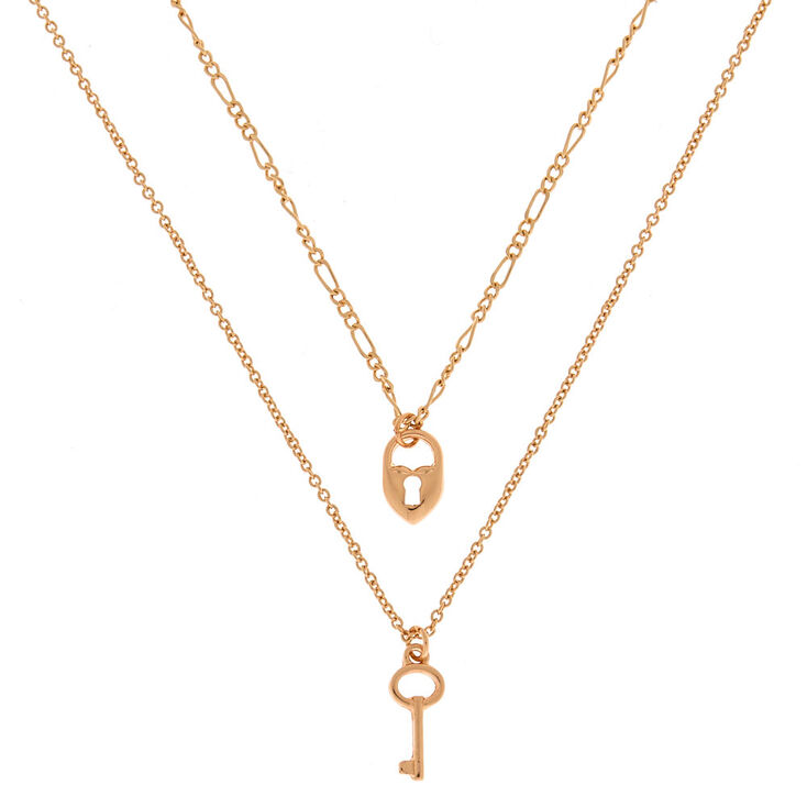 af5c1f1b5f5b7 Heart Lock and Key Multi Strand Necklace - Gold