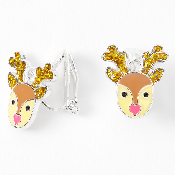 Silver Reindeer Clip On Earrings,