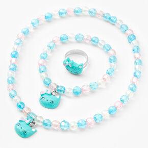Claire's Club Glitter Cat Jewelry Set - Mint, 3 Pack,