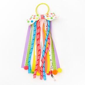 Rainbow Pom Pom Bow Ribbon Hair Tie,