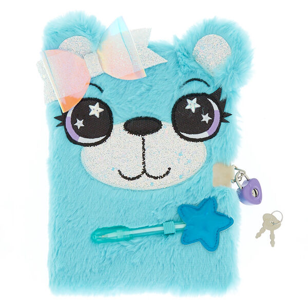 Claire's - brooke the bear lock plush notebook - 1