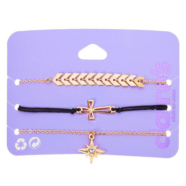 Gold Mixed Cross Star Symbol Bracelets - 3 Pack,