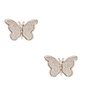 Silver Glitter Butterfly Stud Earrings,