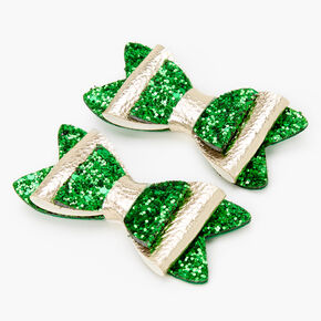 St. Patrick's Day Glitter Hair Bow Clip - Green,