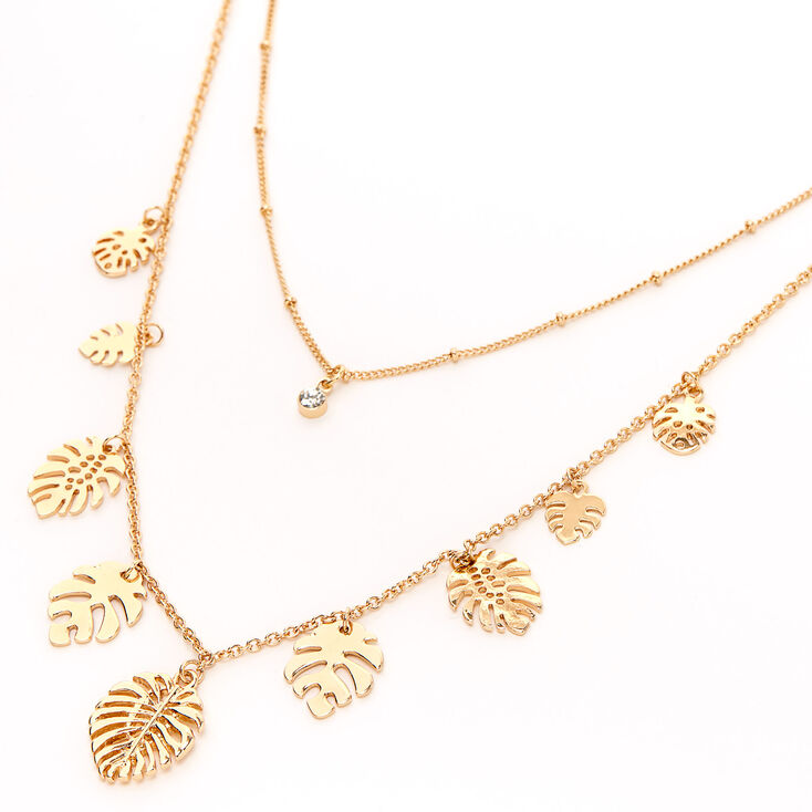Gold Palm Leaf Multi Strand Necklace,