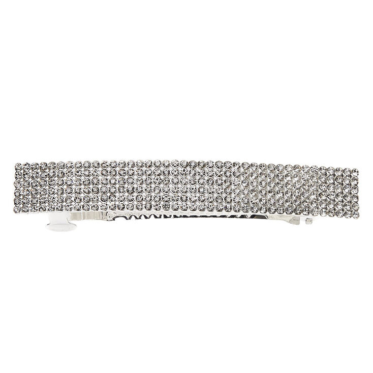 Silver Rhinestone Rectangle Hair Barrette,