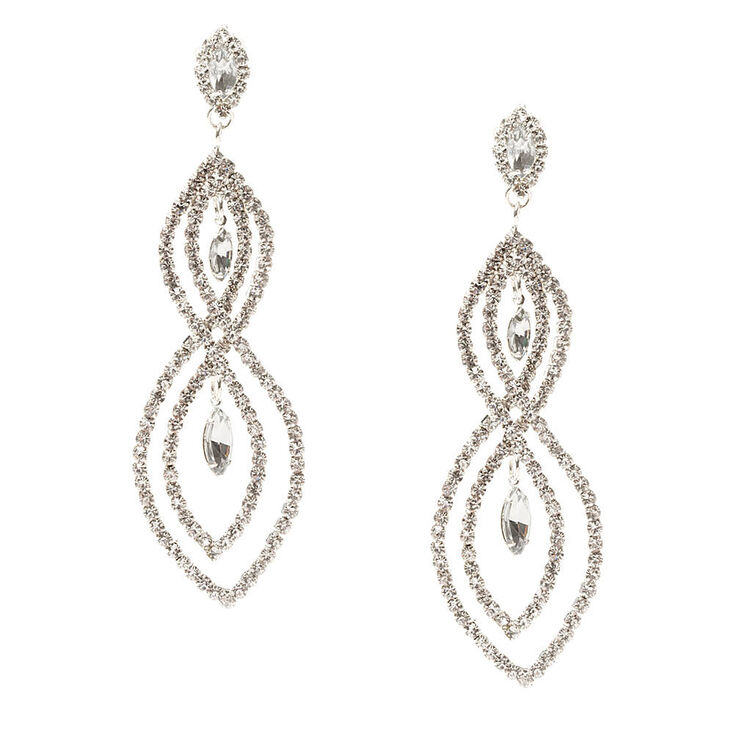 Rhinestone Loops With Marquis Crystals Drop Earrings
