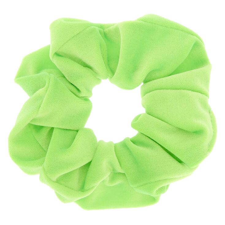 Medium Velvet Hair Scrunchie - Neon Green,