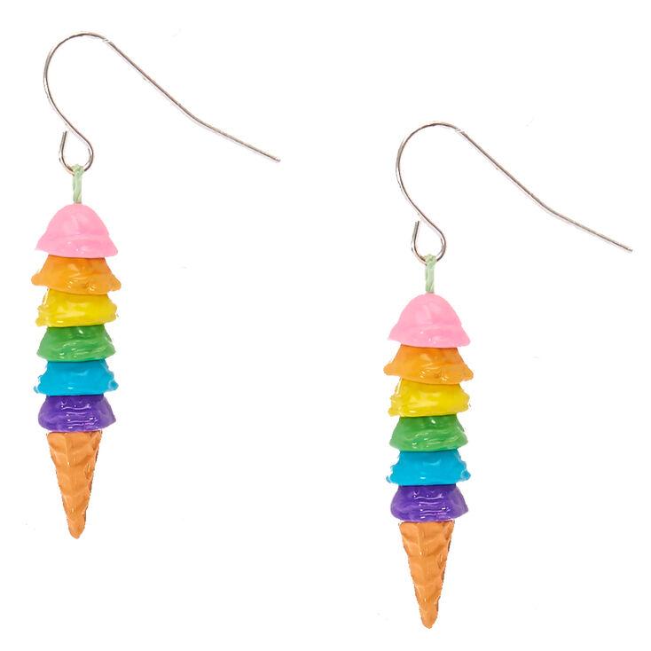 Rainbow Ice Cream Cone Drop Earrings