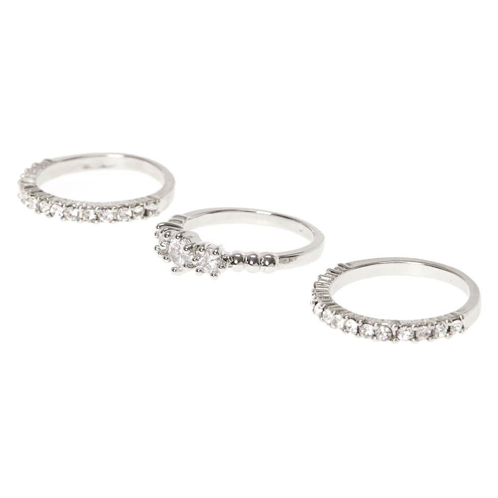 E.M. crystal and pearl set of three rings - Metallic zpNYK
