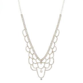 Silver Glass Rhinestone Scallop Statement Necklace,