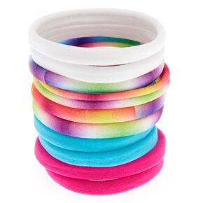 Neon Pink Tie Dye Rolled Hair Ties - 10 Pack,